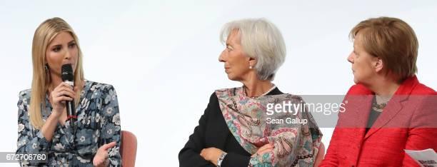 Ivanka Trump daughter of US President Donald Trump talks to International Monetary Fund Managing Director Christine Lagarde and German Chancellor...