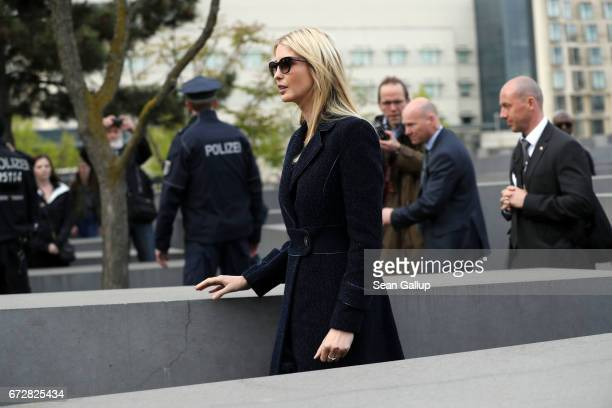 Ivanka Trump daughter of US President Donald Trump walks among stellae at the Memorial to the Murdered Jews of Europe also called the Holocaust...
