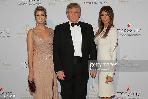 Ivanka Trump Donald Trump and Melania Trump attends European School Of Economics Foundation Vision And Reality Awards on December 5 2012 in New York...