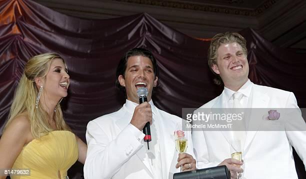 Ivanka Trump Donald Trump Jr and Eric Trump speak during the wedding reception of Ivana Trump and Rossano Rubicondi at the MaraLago Club on April 12...