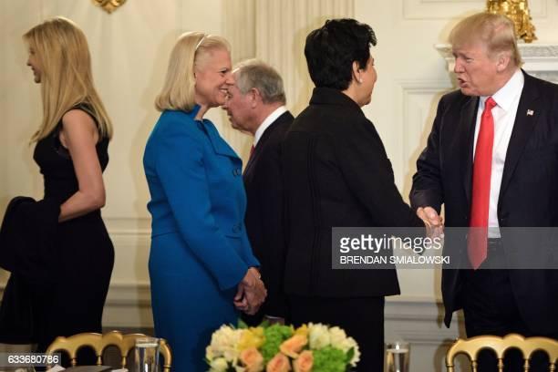 Ivanka Trump Ginni Rometty CEO of IBM Indra Nooyi CEO of Pepsi Co and US  President 64e9e70aa