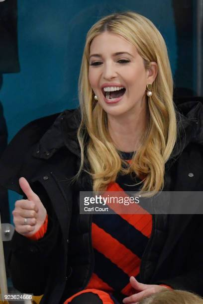 Ivanka Trump gives a thumbs up gesture as she watches the Men's Gold Medal Curling match between Sweden and United States of America at Gangneung...