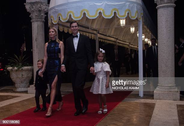 Ivanka Trump her husband Jared Kushner and their children Arabella and Joseph arrive at a new year's party at US president Donald Trump's MaraLago...