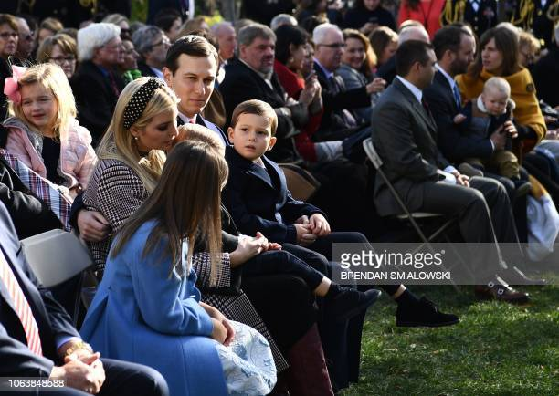 Ivanka Trump her husband Jared Kushner and their children attend US President Trump's pardoning of the turkeys annual ceremony at the White House in...