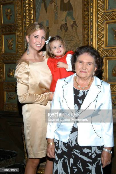 Ivanka Trump holds her niece Kai Madison while standing with her grandmother Marie Zelnickova, at the Mar-A-Lago estate, Palm Beach, Florida, on...
