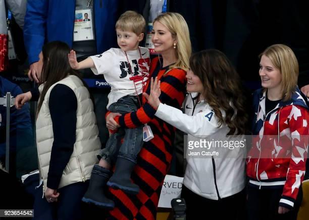 Ivanka Trump holds US Curler John Shuster's son Luke next to US curler Becca Hamilton sister of Matt Hamilton during the Curling Men's Gold Medal...