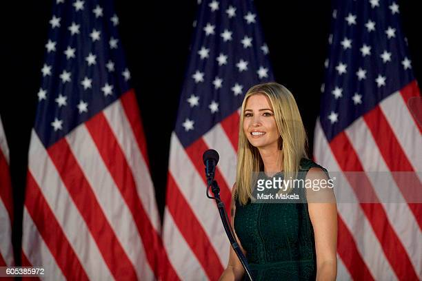 Ivanka Trump introduces her father Republican presidential hopeful Donald J Trump during a campaign event at the Aston Township Community Center on...