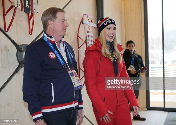 Ivanka Trump is greeted by Lawrence Probst while visiting the USA House on February 24 2018 in Pyeongchanggun South Korea