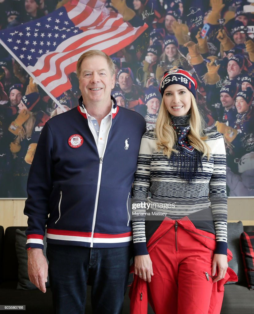 Ivanka Trump is greeted by Lawrence Probst while visiting the USA House on February 24, 2018 in Pyeongchang-gun, South Korea.