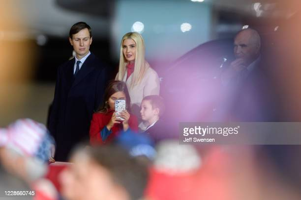 Ivanka Trump, Jared Kushner and their children listen as President Donald Trump speaks at a campaign rally at Atlantic Aviation on September 22, 2020...