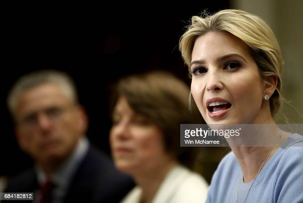 Ivanka Trump leads a meeting on human trafficking in the Roosevelt Room of the White House May 17 2017 in Washington DC Ivanka Trump has made human...