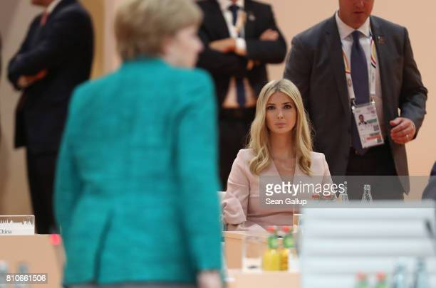 Ivanka Trump looks on as German Chancellor Angela Merkel arrives for the morning working session on the second day of the G20 economic summit on July...