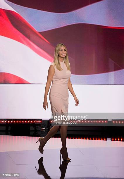 Ivanka Trump on the fourth day of the Republican National Convention on July 21 2016 at the Quicken Loans Arena in Cleveland Ohio An estimated 50000...