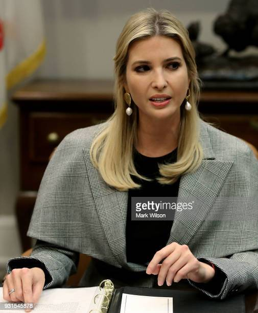 Ivanka Trump participates in a bipartisan round table discussion on sex trafficking with members of Congress and the private sector in the Roosevelt...