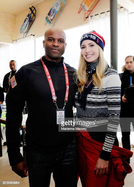 Ivanka Trump poses for a photo with Garrett Hines while visiting the USA House on February 24 2018 in Pyeongchanggun South Korea