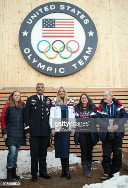 Ivanka Trump poses for a photograph with White House Press Secretary Sarah Huckabee Sanders General Vincent K Brooks commander of United States...
