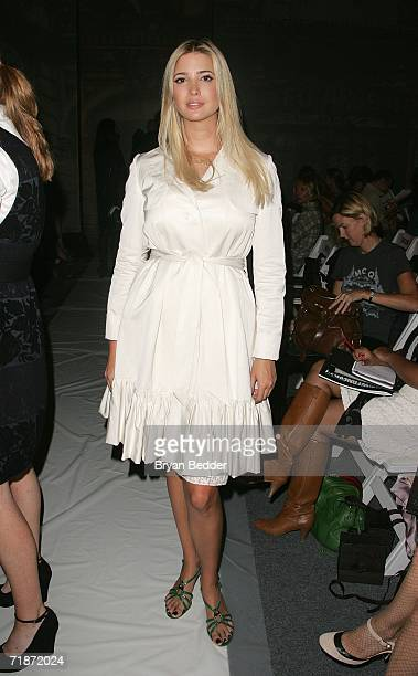 Ivanka Trump poses in the front row at the Ports 1961 By Tia Cibani Spring 2007 fashion show during Olympus Fashion Week at the Atelier in Bryant...
