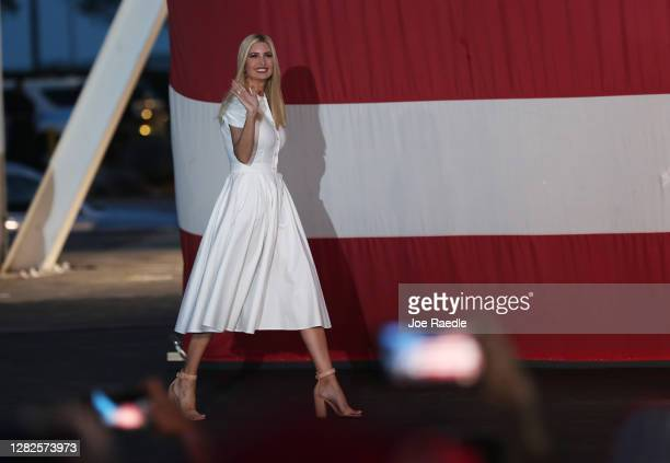 Ivanka Trump, President Donald Trump's daughter, arrives to speaks during a campaign event for her father on October 27, 2020 in Miami, Florida....
