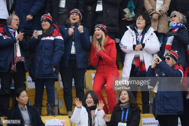 Ivanka Trump reacts as she watches USA's Chris Corning compete in the Snowboard Men's Big Air Final with White House Press Secretary Sarah Huckabee...