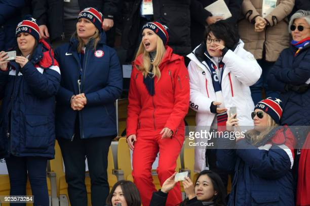 Ivanka Trump reacts as she watches USA's Kyle Mack compete in the Snowboard Men's Big Air Final with White House Press Secretary Sarah Huckabee...