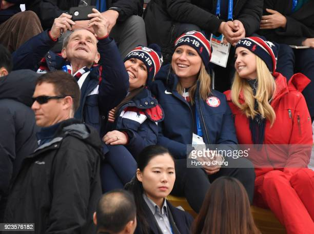 Pyeongchang Gangwon FEBRUARY 24 Ivanka Trump reacts as she watches USA's Kyle Mack compete in the Snowboard Men's Big Air Final with White House...