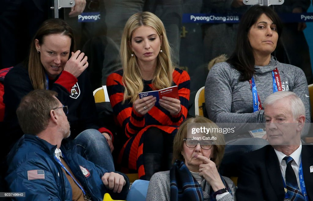 Ivanka Trump reads about the rules of curling during the Curling Men's Gold Medal Game between USA and Sweden on day fifteen of the PyeongChang 2018 Winter Olympic Games at Gangneung Curling Centre on February 24, 2018 in Gangneung, Pyeongchang, South Korea.
