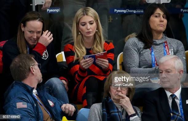 Ivanka Trump reads about the rules of curling during the Curling Men's Gold Medal Game between USA and Sweden on day fifteen of the PyeongChang 2018...