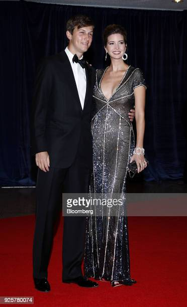 Ivanka Trump right and Jared Kushner arrive for the White House Correspondents' Association dinner in Washington DC US on Saturday April 28 2012 New...