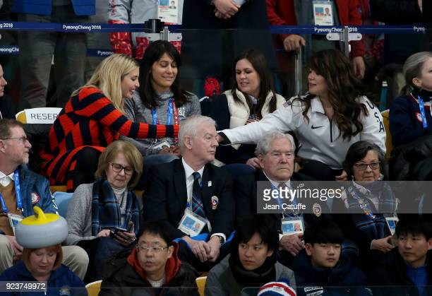Ivanka Trump salutes US curler Becca Hamilton during the Curling Men's Gold Medal Game between USA and Sweden on day fifteen of the PyeongChang 2018...