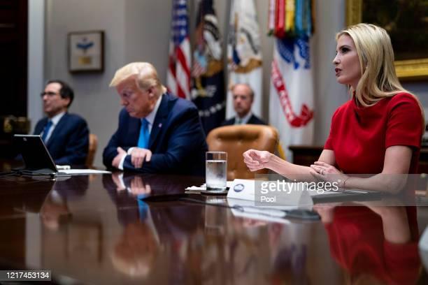 Ivanka Trump , senior advisor to President Donald Trump , and Treasury Secretary Steven Mnuchin participate in a video conference with...