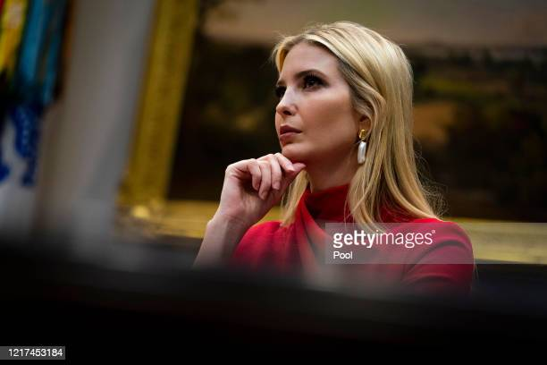 Ivanka Trump, senior advisor to President Donald Trump, participates in a video conference with representatives of large banks and credit card...