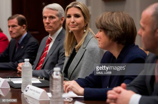 Ivanka Trump Senior White House Adviser and daughter of US President Donald Trump speaks during a meeting on anti sex trafficking in the Roosevelt...