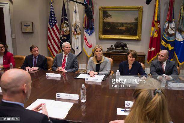 Ivanka Trump Senior White House Adviser and daughter of US President Donald Trump speaks alongside Senator Amy Klobuchar Democrat of Minnesota and...