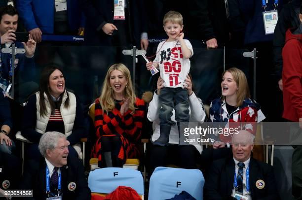 Ivanka Trump sits next to US Curler John Shuster's son Luke being held by US curler Becca Hamilton sister of Matt Hamilton during the Curling Men's...