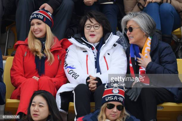 Ivanka Trump South Korean first lady Kim Jungsook and South Korean foreign minister Kang Kyungwha attend the Snowboard Men's Big Air Final on...