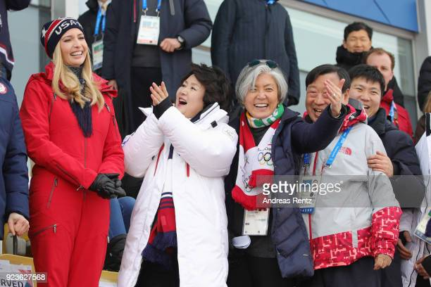 Ivanka Trump South Korean first lady Kim Jungsook and South Korean foreign minister Kang Kyungwha attend the Snowboard Men's Big Air Final on day 15...