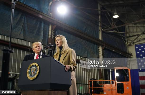 Ivanka Trump speaks along side her father US President Donald Trump following a tour of the HK Equipment Company in Coraopolis Pennsylvania on...