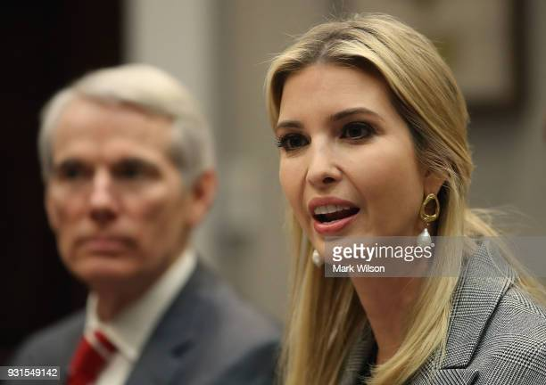 Ivanka Trump speaks as Sen Rob Prtman looks on during a bipartisan round table discussion on sex trafficking with members of Congress and the private...