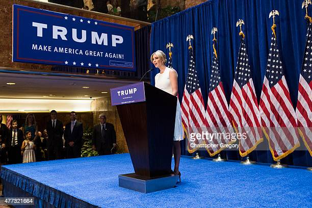 Ivanka Trump speaks at a press event where her father business mogul Donald Trump announced his candidacy for the US presidency at Trump Tower on...