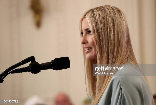 Ivanka Trump speaks at an event where US President Donald Trump signed an executive order establishing a National Council for the American Worker and...