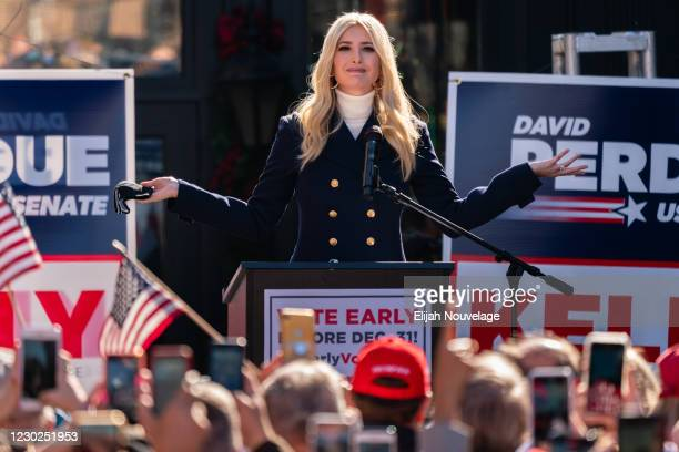 Ivanka Trump speaks during a campaign event with Senators Kelly Loeffler and David Perdue on December 21, 2020 in Milton, Georgia. The two Georgia...