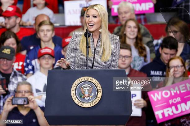 Ivanka Trump speaks during a campaign rally for Republican Senate candidate Mike Braun and attended by President Donald Trump at the County War...