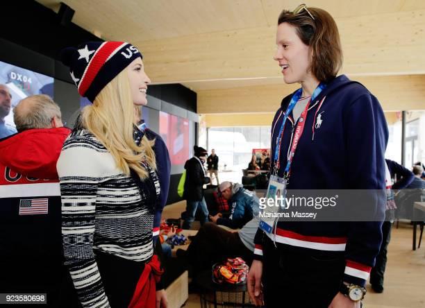 Ivanka Trump speaks with athlete Caryn Davies while visiting the USA House on February 24 2018 in Pyeongchanggun South Korea