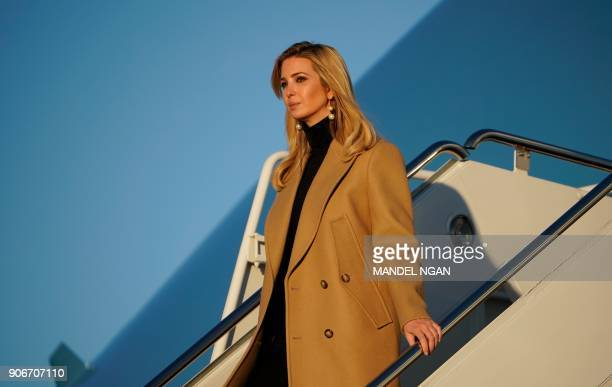 Ivanka Trump steps off Air Force One upon return to Andrews Air Force in Maryland on January 18 2018 She was traveling with US President Donald Trump...