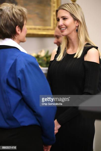 OUT Ivanka Trump talks with NASA astronaut Peggy Whitson after President Donald Trump signed 'Space Policy Directive 1' during a ceremony in the...