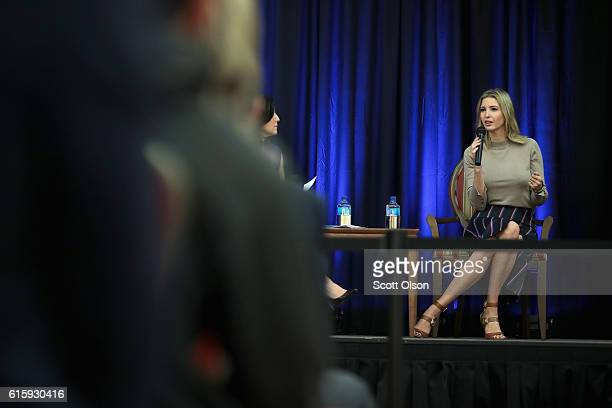 Ivanka Trump the daughter of Republican presidential candidate Donald Trump speaks to guests while making a campaign stop for her father on October...