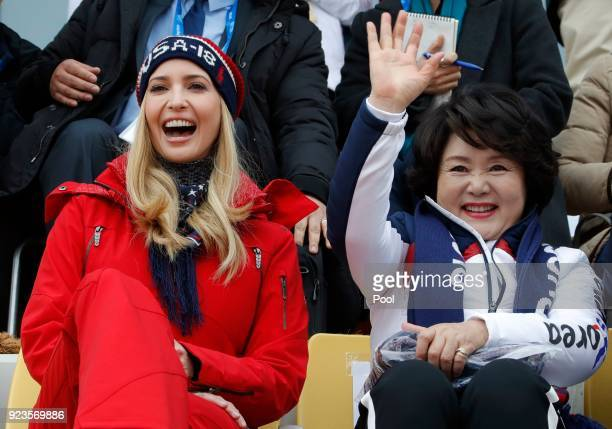 Ivanka Trump, U.S. President Trump's daughter and senior White House adviser, reacts as Kim Jung-sook, wife of South Korea's President Moon Jae-in,...