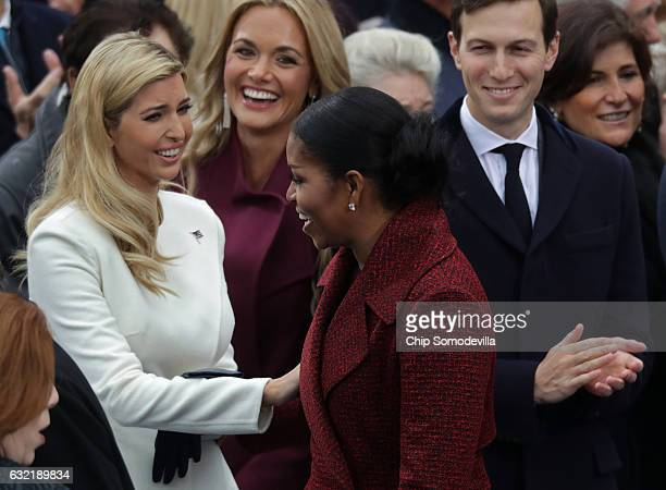 Ivanka Trump Vanessa Trump first lady Michelle Obama and Jared Kushner arrive on the West Front of the US Capitol on January 20 2017 in Washington DC...
