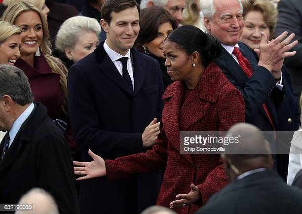 Ivanka Trump Vanessa Trump Jared Kushner and first lady Michelle Obama arrive on the West Front of the US Capitol on January 20 2017 in Washington DC...