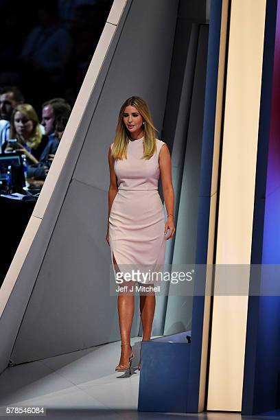 Ivanka Trump walks on stage to deliver a speech during the evening session on the fourth day of the Republican National Convention on July 21 2016 at...